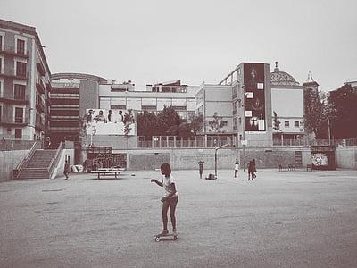 black-and-white, child, children, girl, kid, skateboarding, urban
