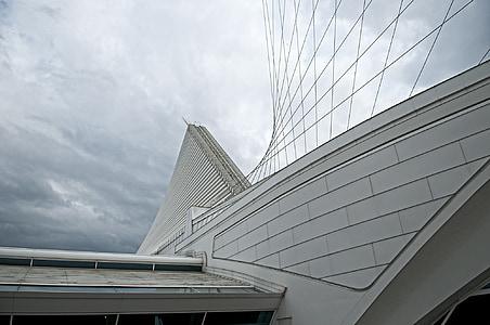 Milwaukee, calatraba, Milwaukee kunstimuuseum, arhitektuur, kaasaegne, taevas, futuristliku