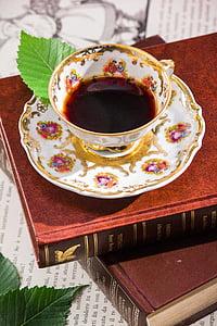 tee, lugemine, Cup, portselan, siseruumides, toidu ja joogiga, vanamoodne