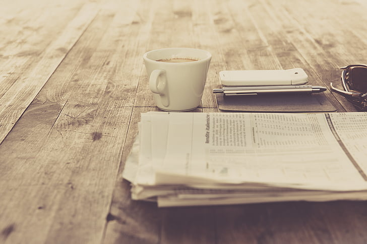 coffee, cup, information, news, newspaper, notebook, smartphone