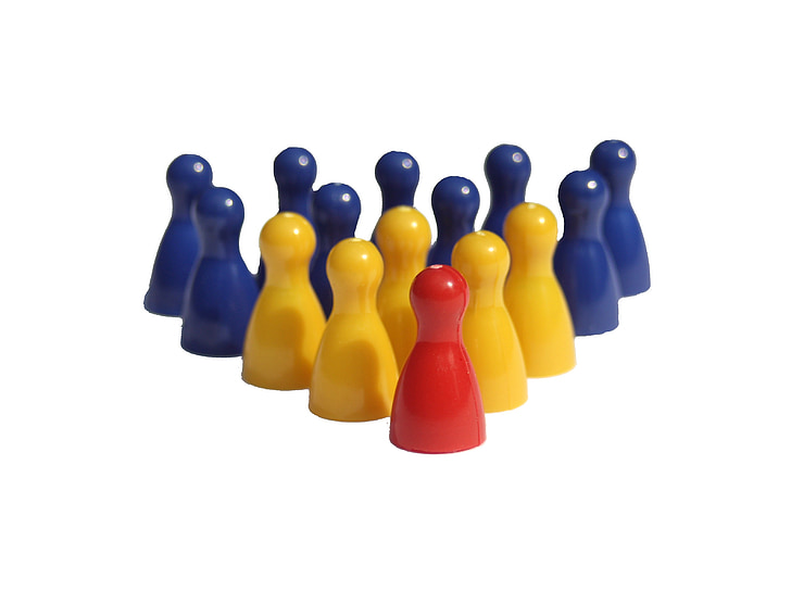 group, hierarchy, figures, play stone, placed, teamwork, strategy