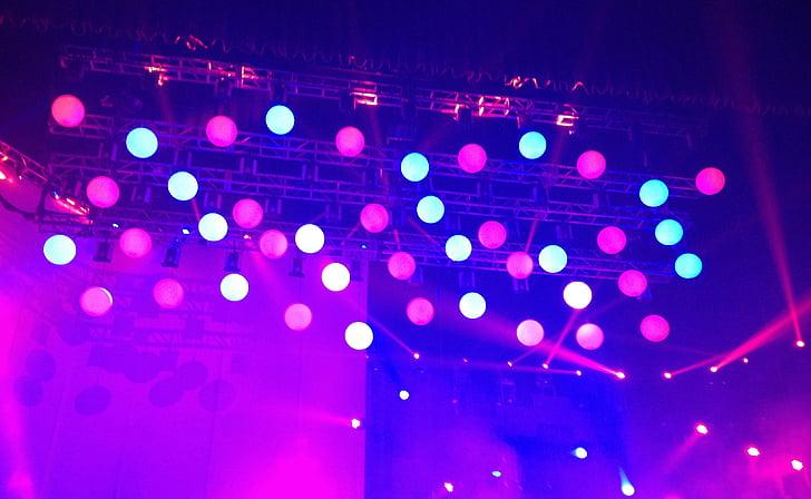 etapa, koncert, svetlá, dizajn, body, šťastný, textúra