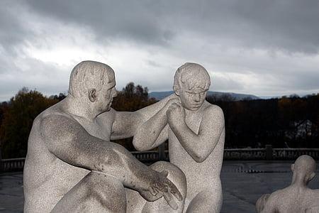 Oslo, Norge, City, kunst, ferie, tal, Vigeland park
