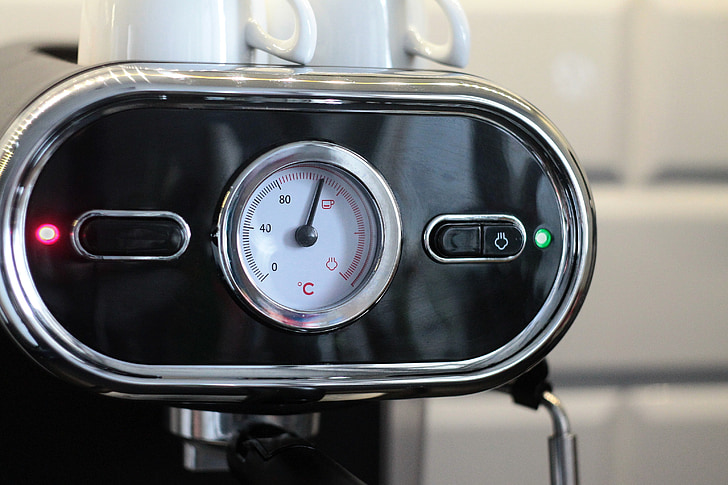 kaffemaskine, espresso, Café, frisk kaffe, duften af kaffe, Nærbillede, indikator