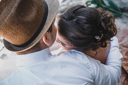parella, dos, relació, nuvis, l'amor, jove, sentiments