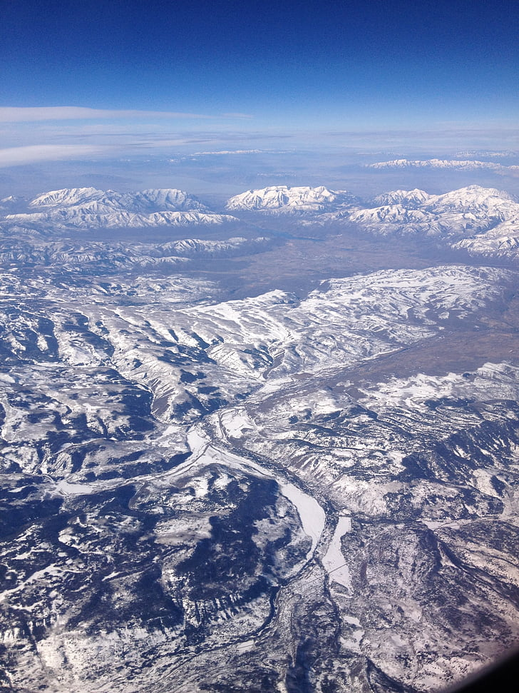 mountains, aerial view, landscape, mountain range