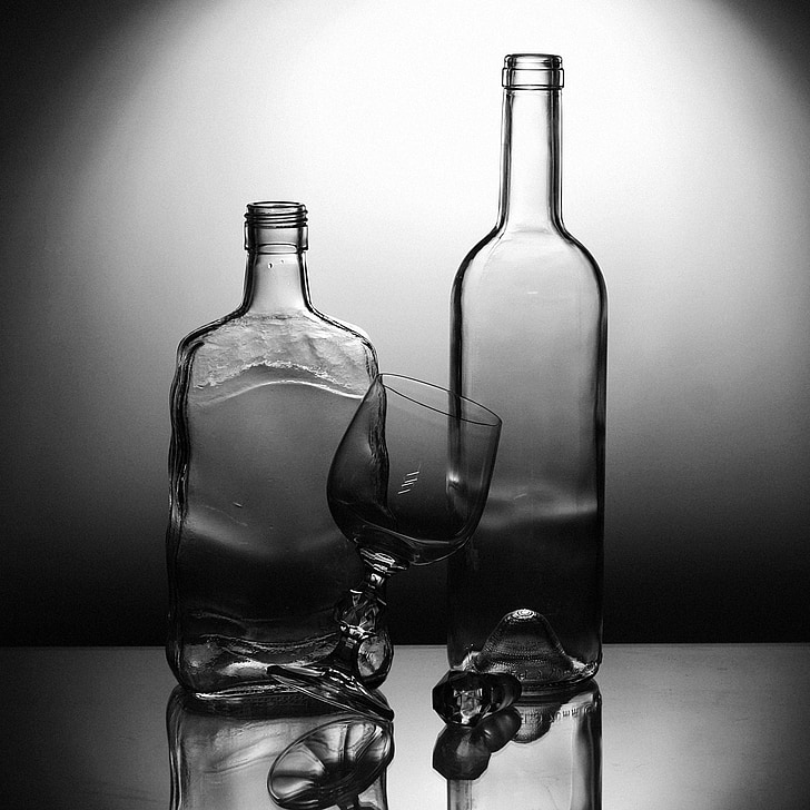 glass, the bottle