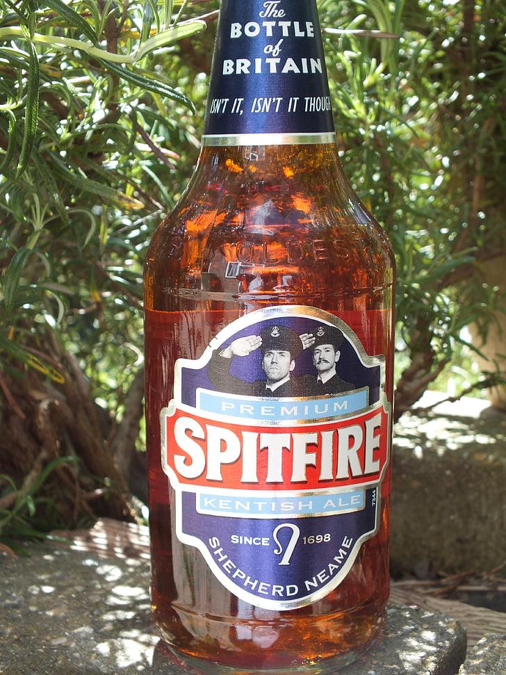 Spitfire, õlu, pudel, alkoholi, likööri, oranž, pruun