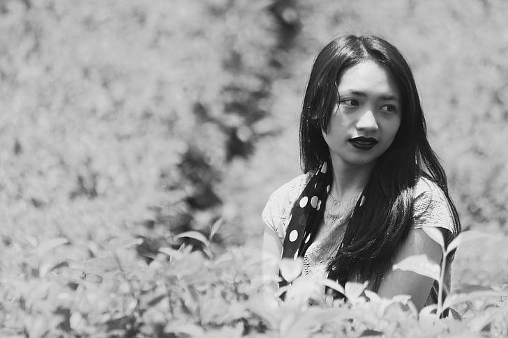 wieś, ogród, modelu, twarz, czarno-białe, Indonezyjski-kobiety