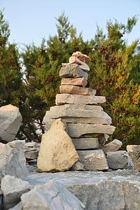 stones, balance, cairn, stack, zen, stacked, green
