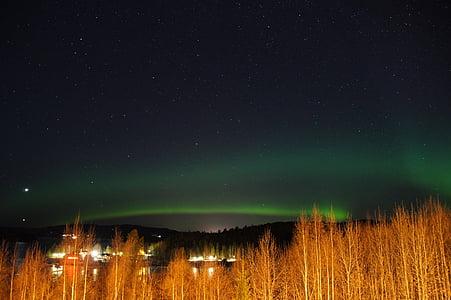 nordlys, Sverige, Lapland, aurora borealis, nat, stjerne - rummet, astronomi