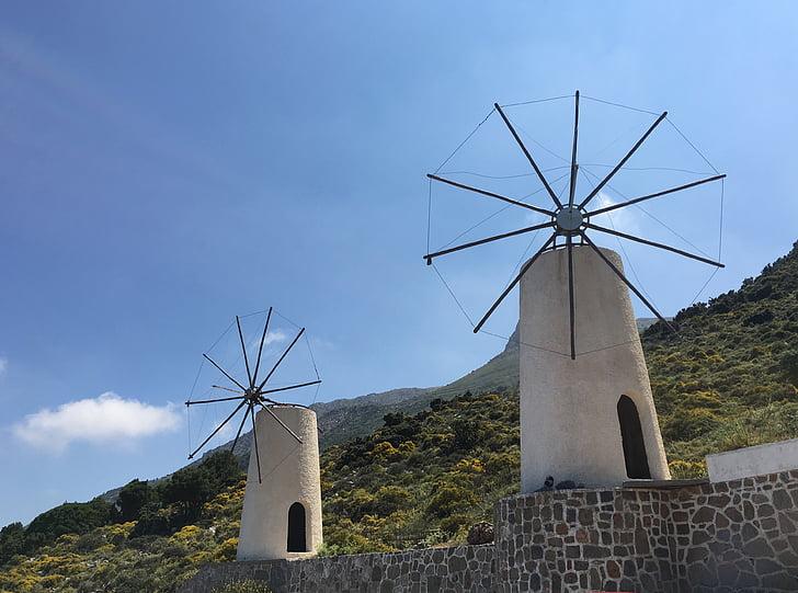 Creta, Lasithi, altiplà, vent d'arrelament, illa de Creta, Molí de vent, natura