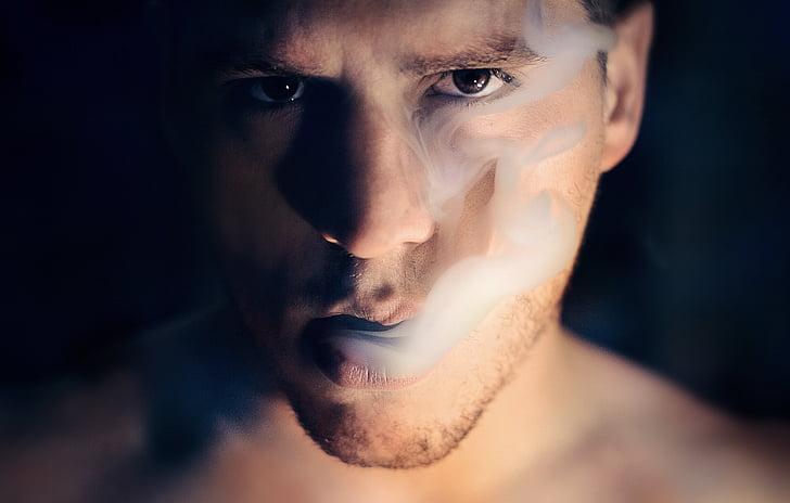 man, portrait, smoke cloud, vapor, smoke, vaping, person