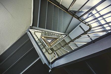Arhitektuurne projekteerimine, arhitektuur, hoone, disain, geomeetriline, kõrge nurk shot, siseruumides