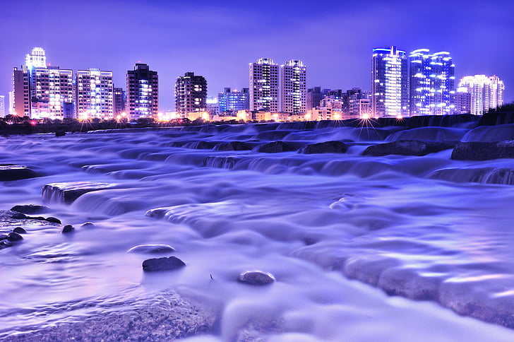 tươi nhỏ, thành phố, đèn, tiếp xúc lâu dài, sông, dòng chảy, đêm xem