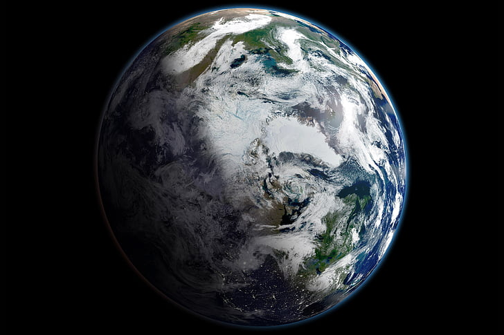 Terre, planète, espace, par satellite, Arctique, sphère, marbre bleu
