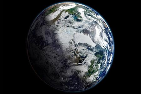 terra, planeta, espai, per satèl·lit, Àrtic, esfera, marbre blau