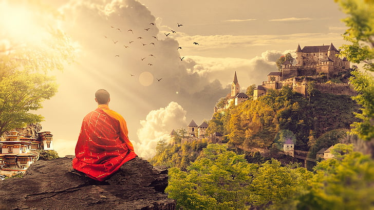 meditation, buddhism, monk, temple, panorama, buddhist, photo manipulation