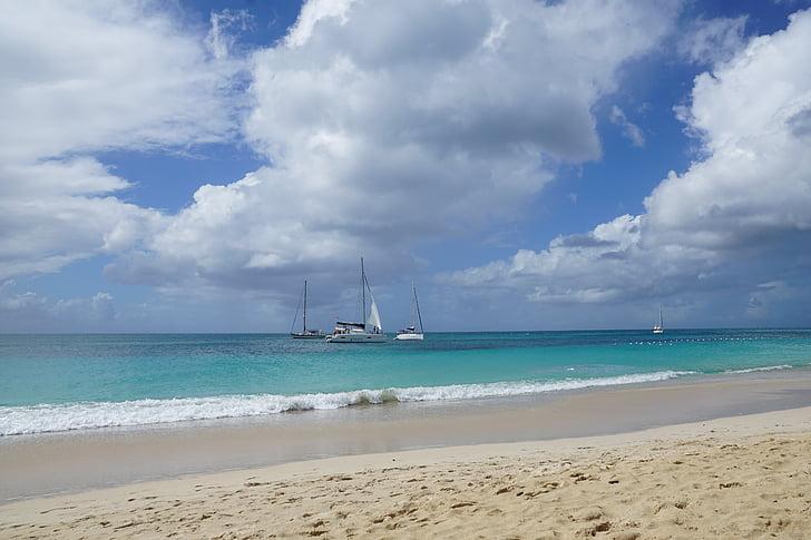 antigua, caribbean, beach, sea, ocean, blue