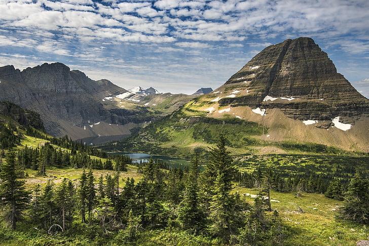 paisatge, panoràmica, muntanyes, escèniques, a l'exterior, núvols, cel
