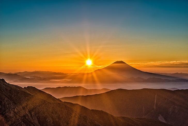 sol, Monte fuji, Japão, paisagem, Alpes do Sul, Outubro, pôr do sol