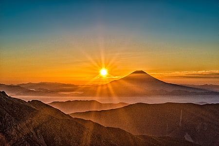 sun, mt fuji, japan, landscape, the southern alps, october, sunset