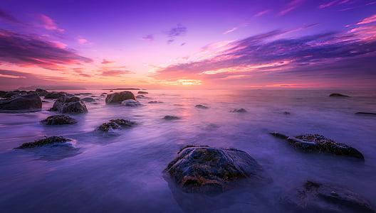 morje, Ocean, vode, kamni, balvani, kamnine, sončni zahod