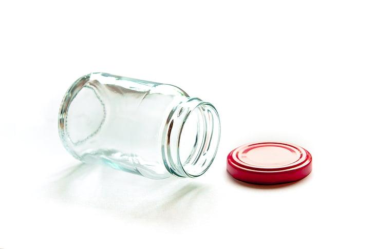 envasos de vidre, vidre, buit, netejar, transparents, clar, blanc