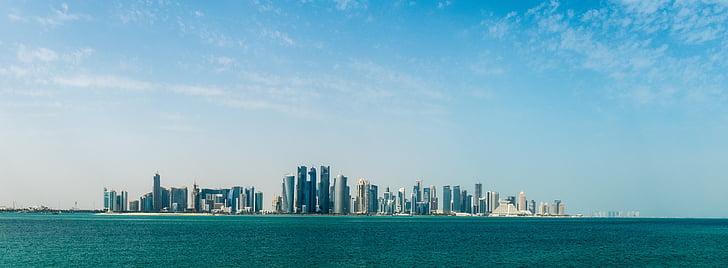 bygninger, byen, bybildet, hav, Panorama, Panorama, kysten