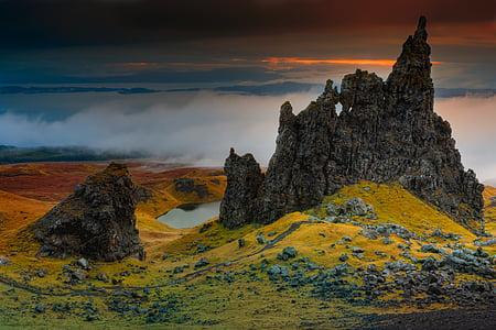 rock, cliff, scotland, isle of skye, old man of storr, clouds, sky