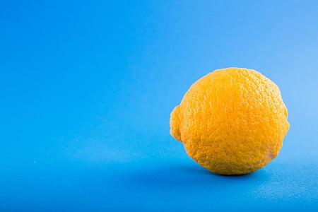 bleu, Tableau, citron, fruits, juteuse, agrumes