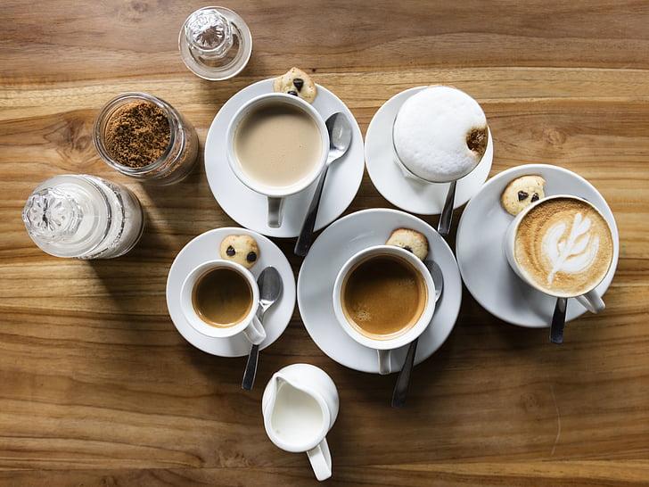 pohár, hrnček, káva, horúce, umenie, dizajn, pena