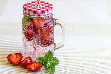 begudes, aigua carbonatada, beguda, aliments, fresc, fruita, flascó