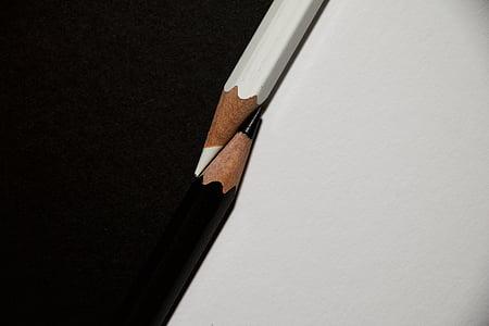 Цветные карандаши, Прекрасно, черный, Белый, черный и белый, карандаш, образование
