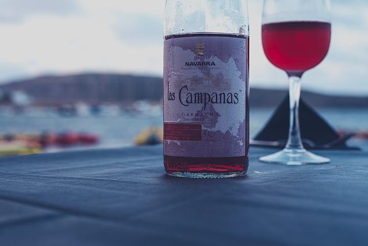 alkoholna, plaža, napitak, boca, Krupni plan, piće, staklo