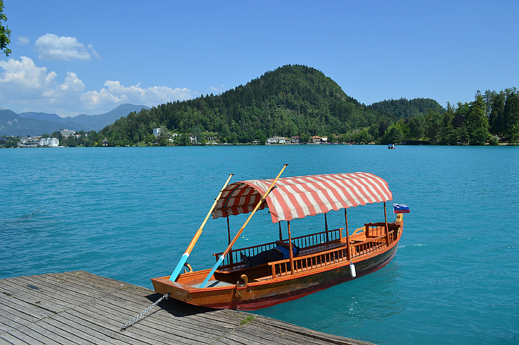 august, bled, boats, ladder, blue water, slovenia