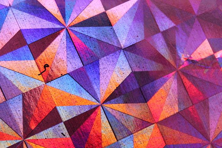 färgglada, abstrakt, bakgrund, torg, trianglar, geometriska