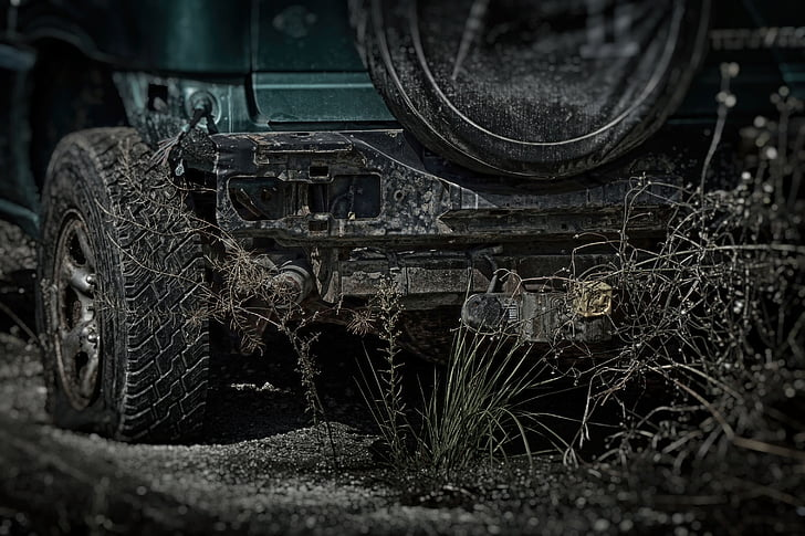 car, scrap, trash, dark, apocalypse, the country wins, nature wins