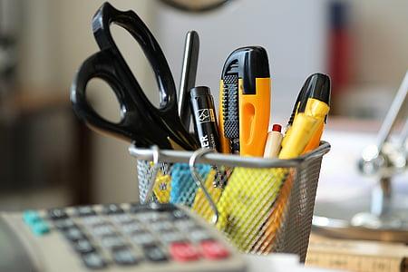 офис, офис консумативи, бюро, Офис аксесоари, ножици, канцеларски материали, перо