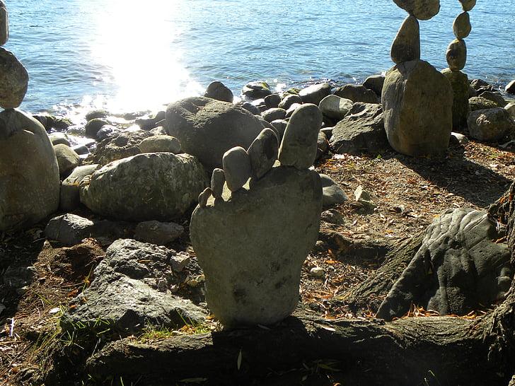 pierres, sculpture, Lac de Zurich, Balance, méditation, reste, silencieux