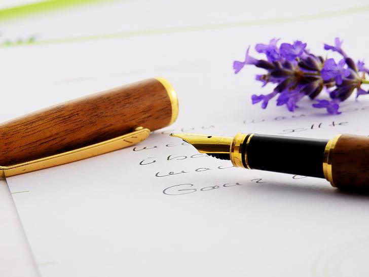 desk, flowers, fountain pen, paper, pen, writing
