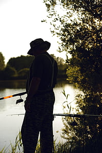 fish, man, water, fischer, lake, fishing, rest