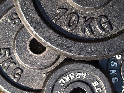 placas de peso, aptidão, força, treinamento de força, formação, levantamento de peso, desporto