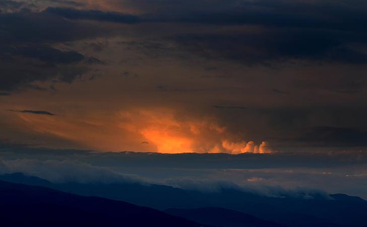 montanha, pôr do sol, Início, nuvem, céu, natureza, beleza na natureza