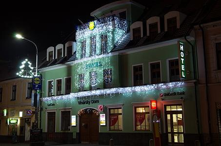 Julelys, ledet dekorasjon, belysning, ledet xmas, streng lys, vinterland, Hotel