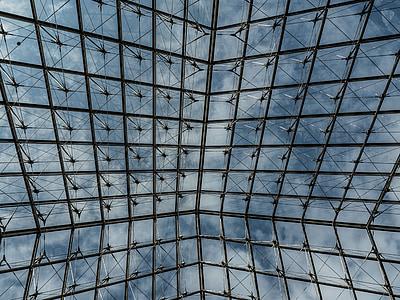 püramiid, Louvre, klaas, Pariis, klaasist püramiid, muuseum, taevas