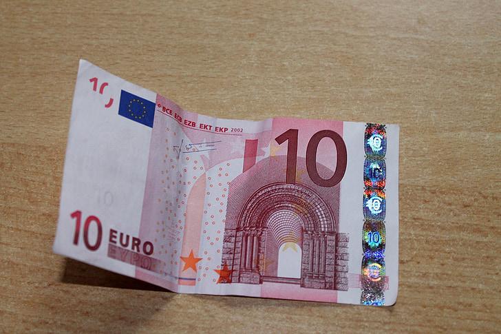 dollarin setelin, Euro, valuutta, laskut, seteliraha, 10 euroa