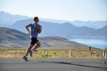 skrējējs, vīrietis, darbojas, skriešanas, garās distances, fitnesa, apvidus