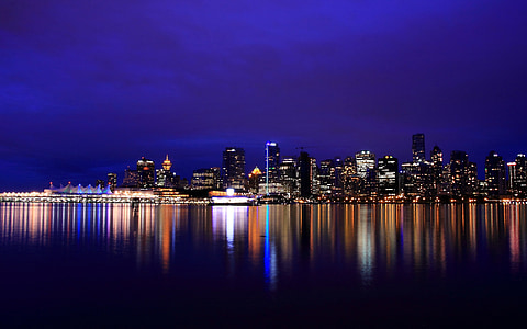 ciutat, paisatge, nit, paisatge urbà, llums de la ciutat