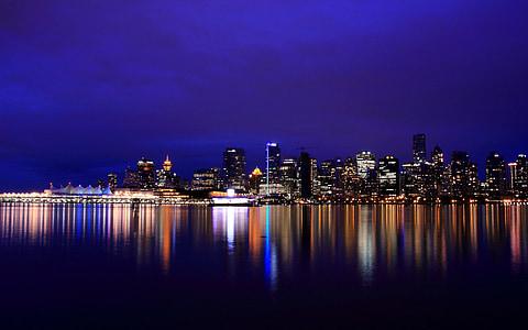 City, maisema, yö, Kaupunkikuva, kaupungin valot